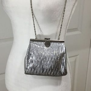 Silver Evening Bag by La Regale with Silver Chain